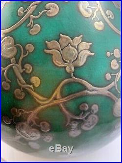 Wilhelm Kåge, Gustavsberg, Argenta Art deco ceramic vase With Silver Inlay