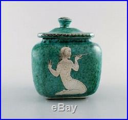 Wilhelm Kåge for Gustavsberg. Large Argenta art deco ceramic lidded jar, 1940s
