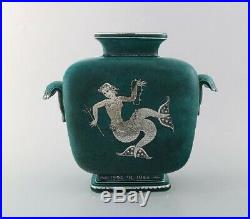 Wilhelm Kåge for Gustavsberg. Large Art Deco Argenta vase in glazed ceramics