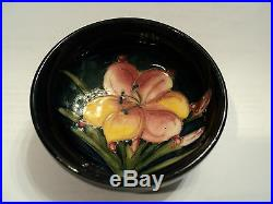 William Moorcroft Art Pottery 3 Cobalt Bowl, Freesia Decoration