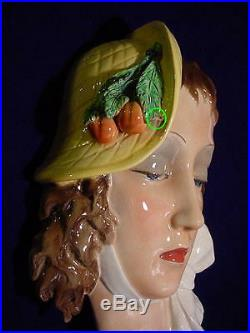 Wonderful ART DECO Italian Ceramic EUGENIO PATTARINO LADY WALL PLAQUE