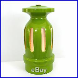 XL Pair Mod Pop Art Ceramic Green Pottery Lamps Mid-Century Modern Space Age 60s